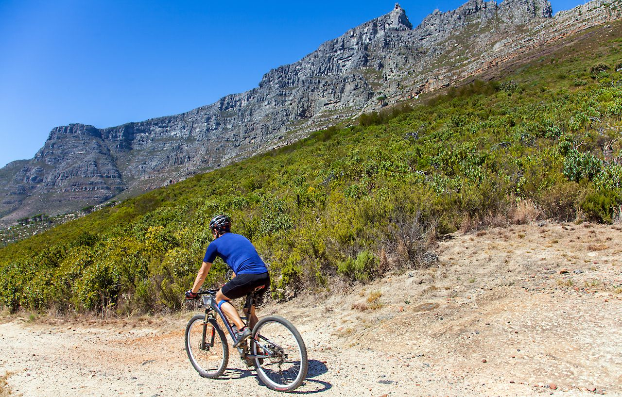 Biker on table mountain Cape Town, South Africa