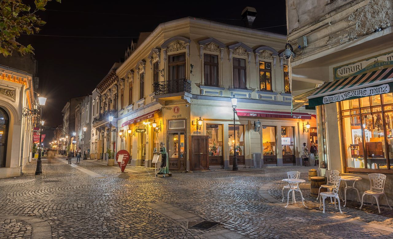 Bucharest's cobblestoned downtown streets at night