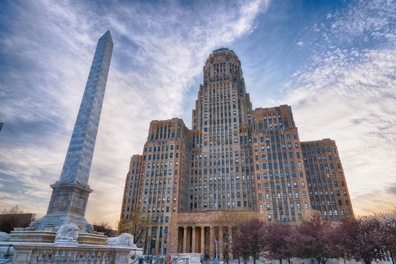 Buffalo City Building and McKinley Monument in downtown Buffalo, New York