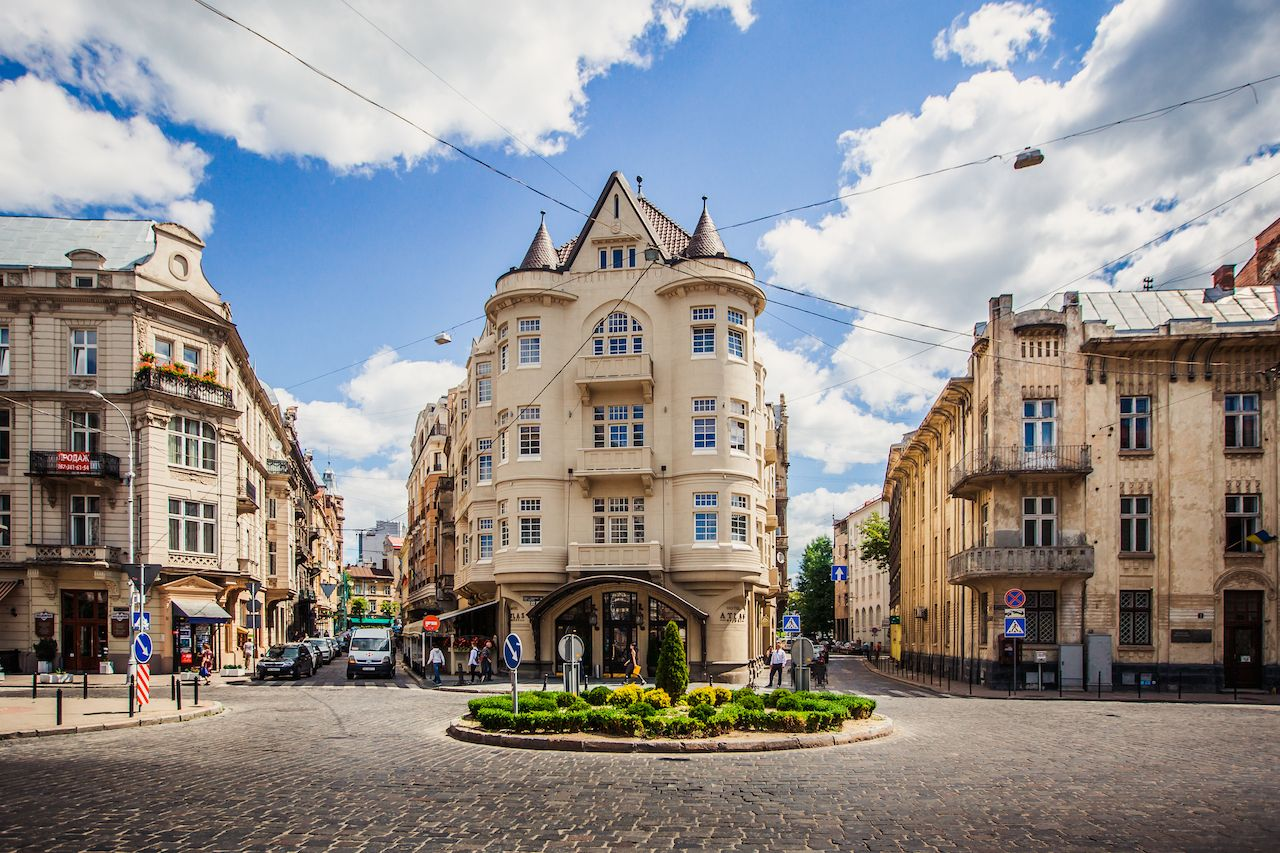Buildings and cobbled streets in Lviv, Ukraine