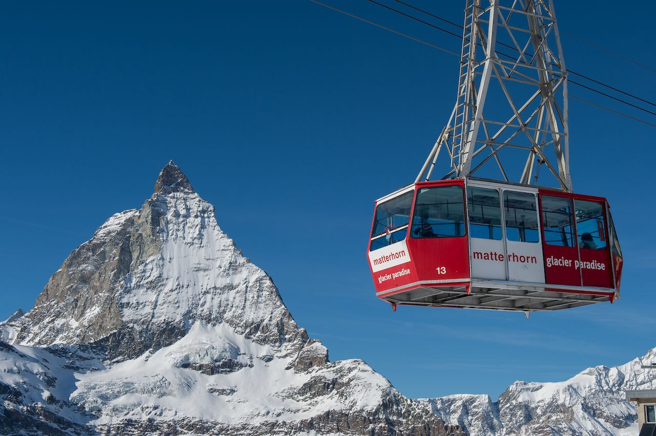 Cable car to Matterhorn Glacier Paradise at Zermatt, Switzerland