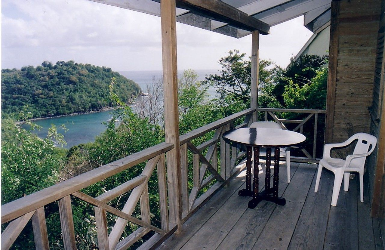 Chalet Le Mar Airbnb with patio view overlooking St. Lucia