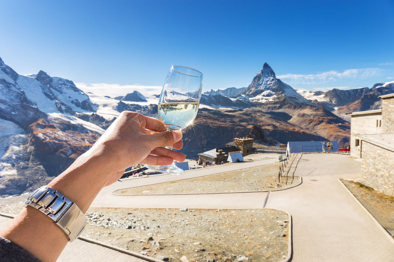 Champange or wine for celebration with amazing view of Matterhorn mountain