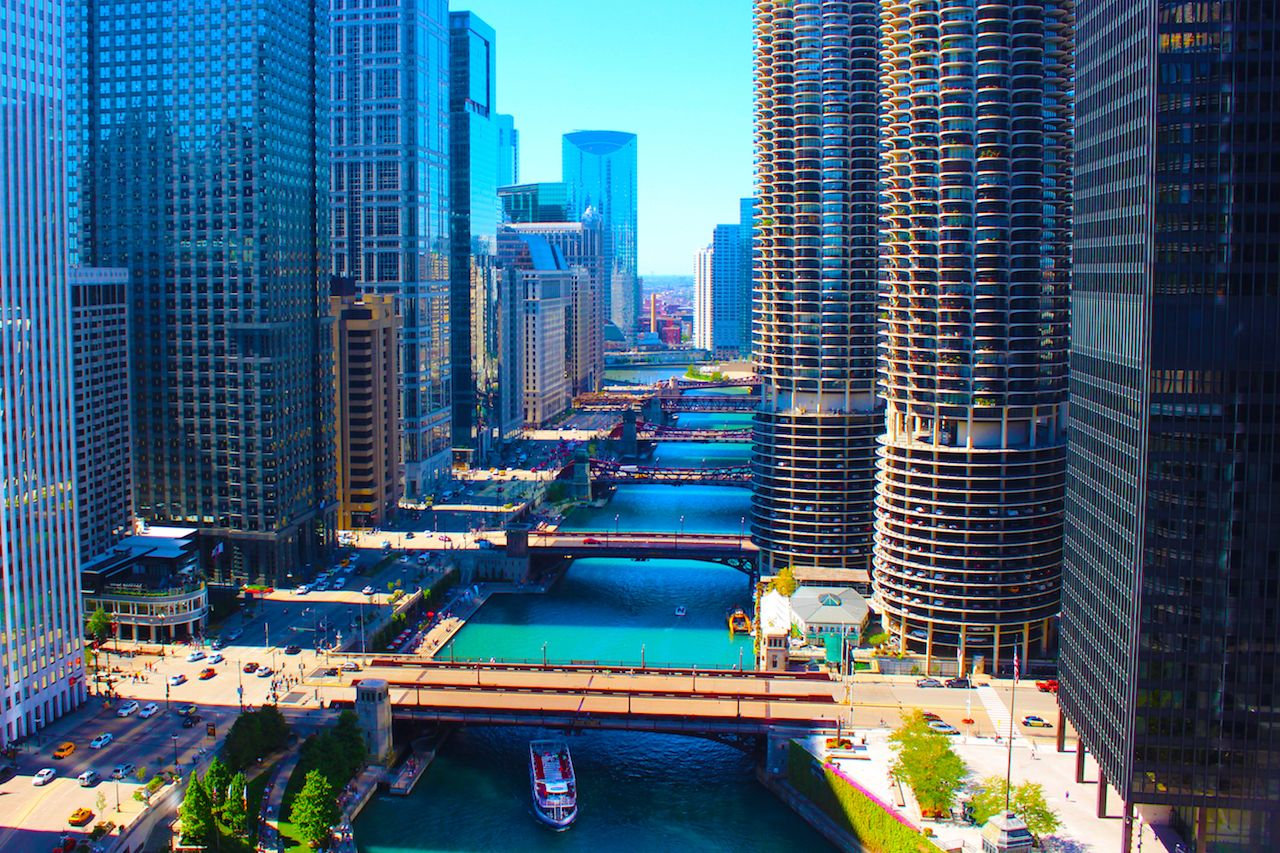 Chicago cityscape with the Chicago River