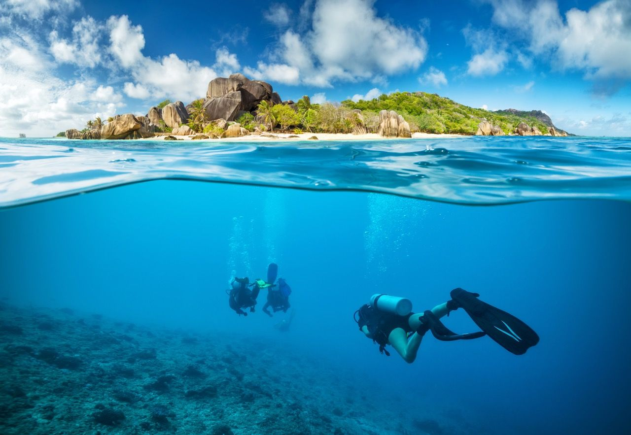 Divers below surface Seychelles