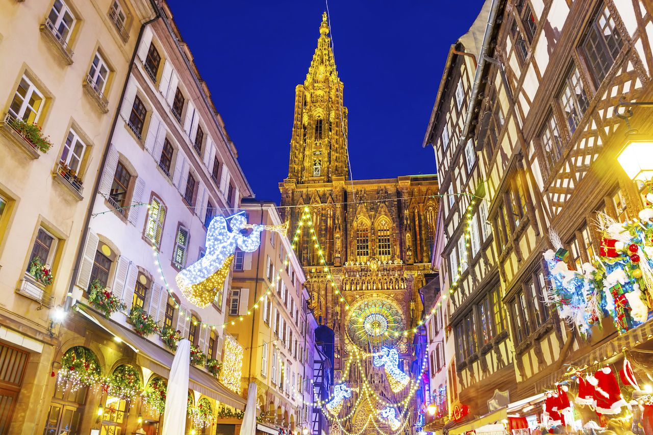 Festive Christmas illumination and decorations on streets of Strasbourg