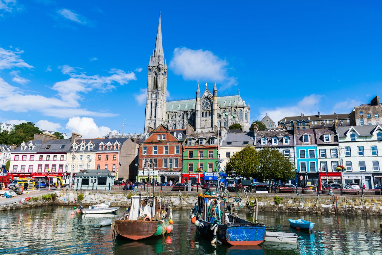 Fishing boats and colorful buildings in Cork, Ireland