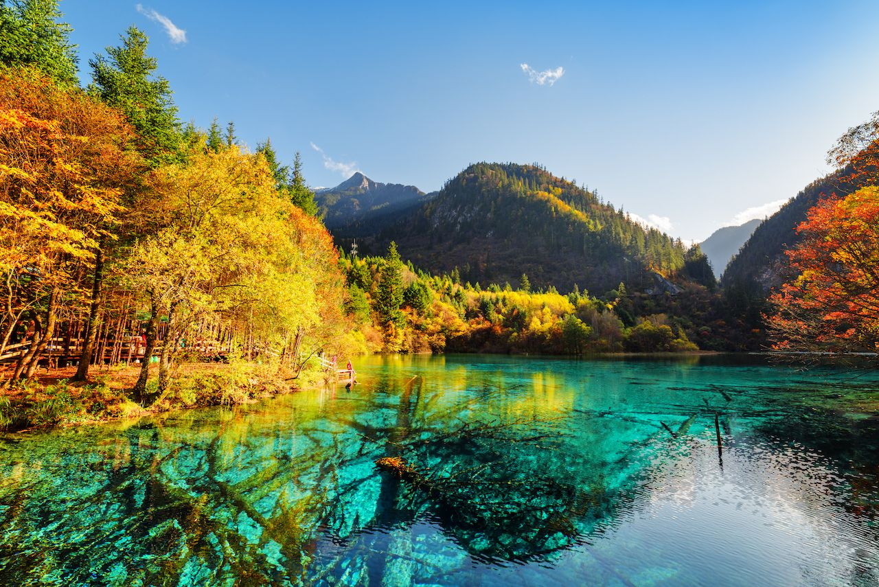 Five Flower Lake in Jiuzhai Valley National Park in China