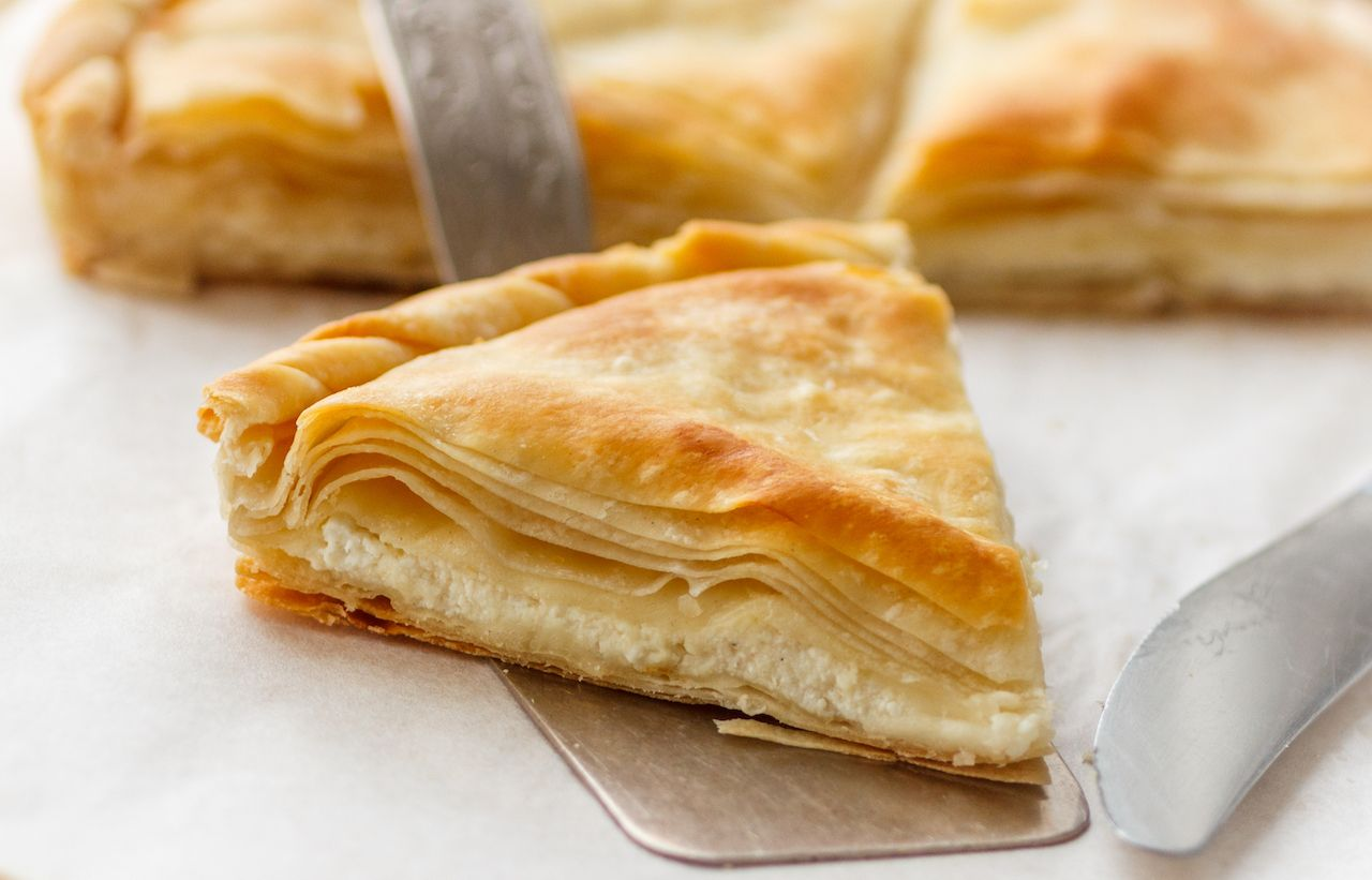Flaky tiropita, Greek cheese pie