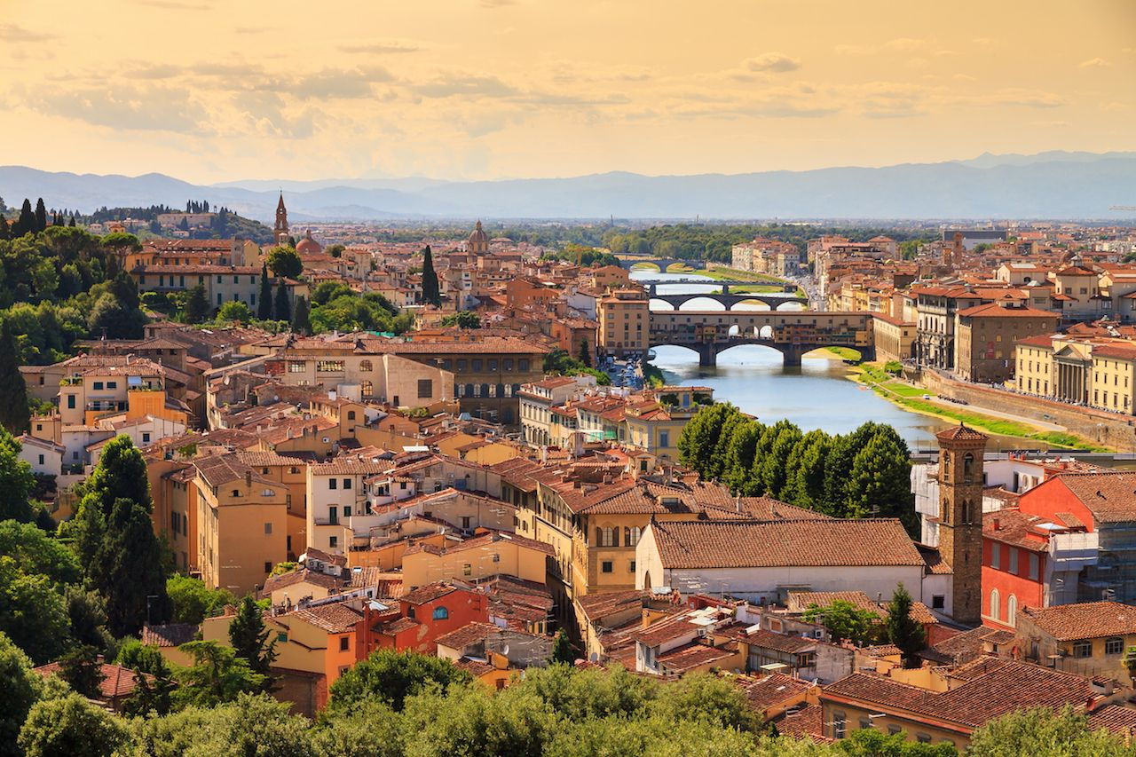 Florence cityscape with bridges over the Arno River
