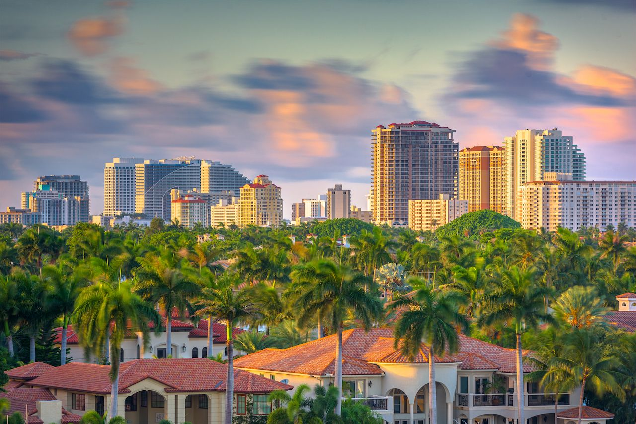 Fort Lauderdale skyline with palm trees