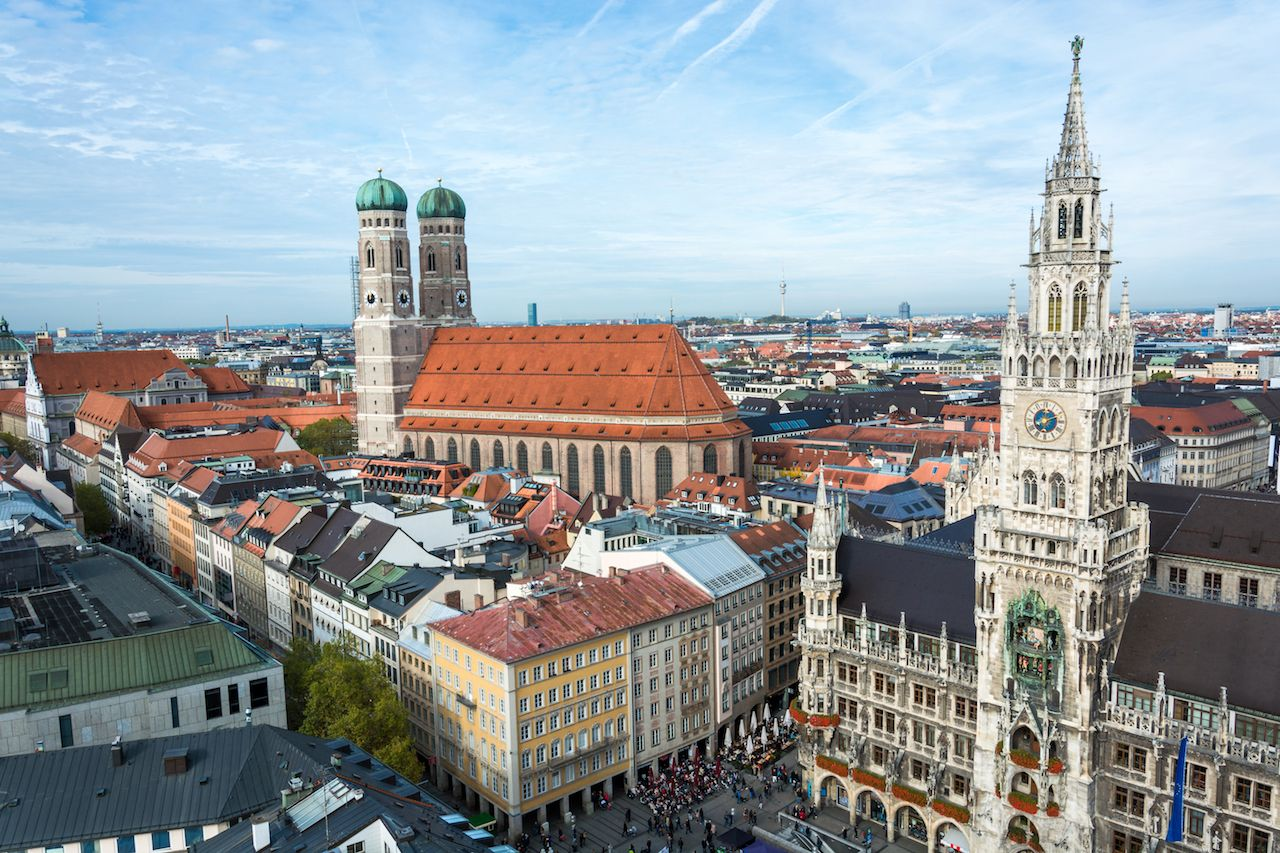 Frauenkirche and town hall at the Marienplatz in Munich, Germany