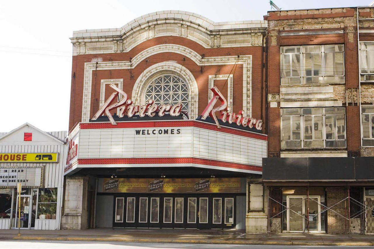 Front of the Riviera Theatre in Chicago