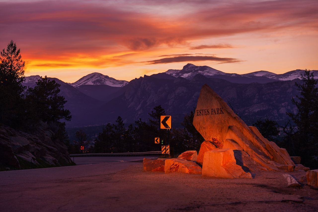 Getaway to Rocky Mountain National Park in Estes Park, Colorado, at dusk