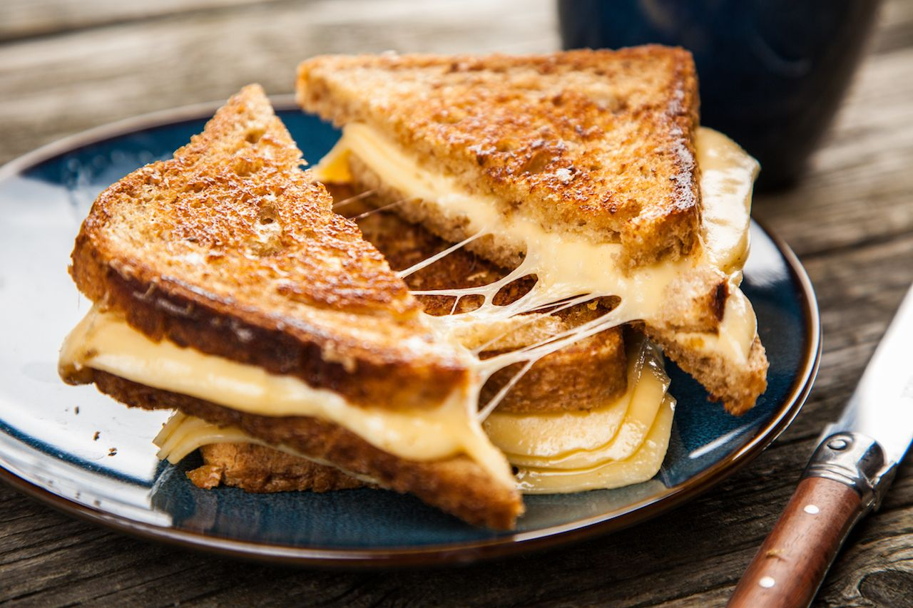 Gooey grilled cheese on a plate