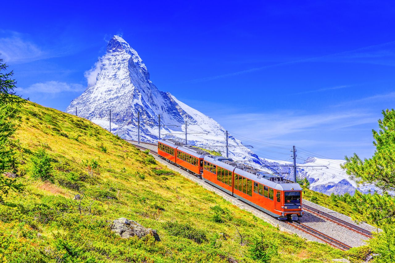 Gornergrat tourist train with Matterhorn mountain in the background
