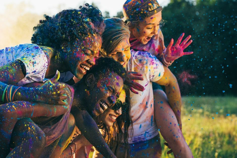 Group of friends at holi festival