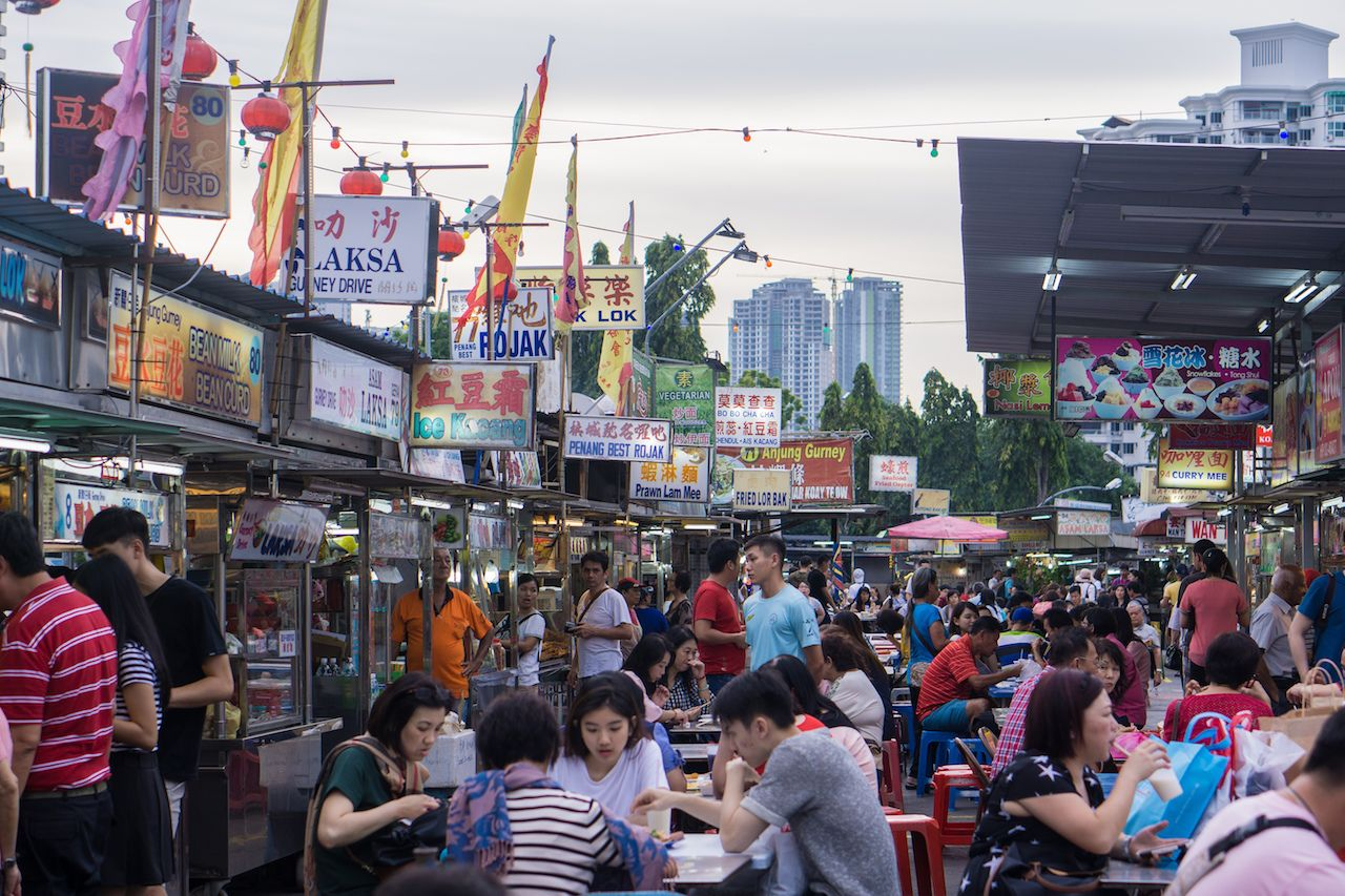 Gurney Drive Hawker Centre street food in Penang, Malaysia