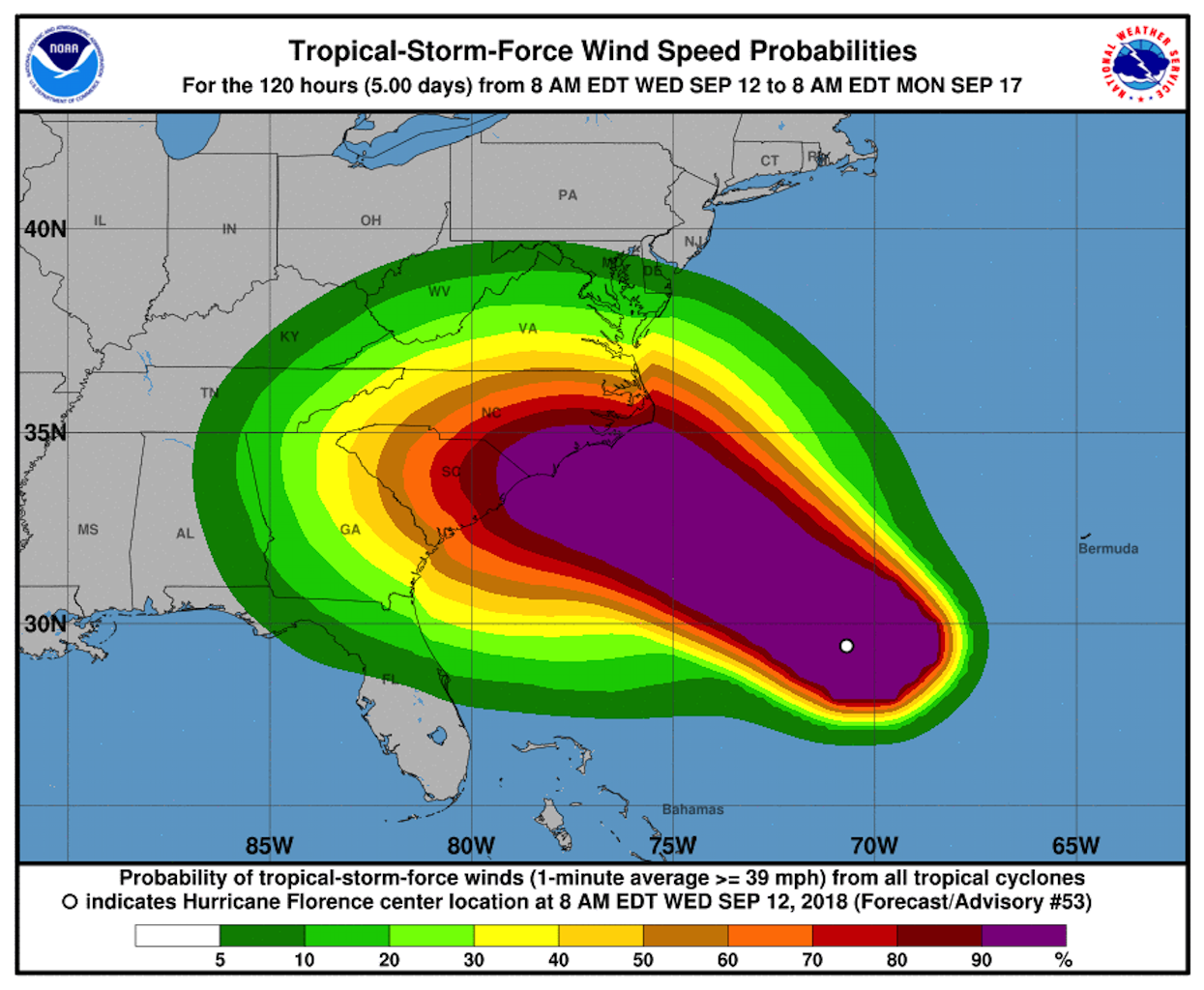 Hurricane Florence map from the NHC