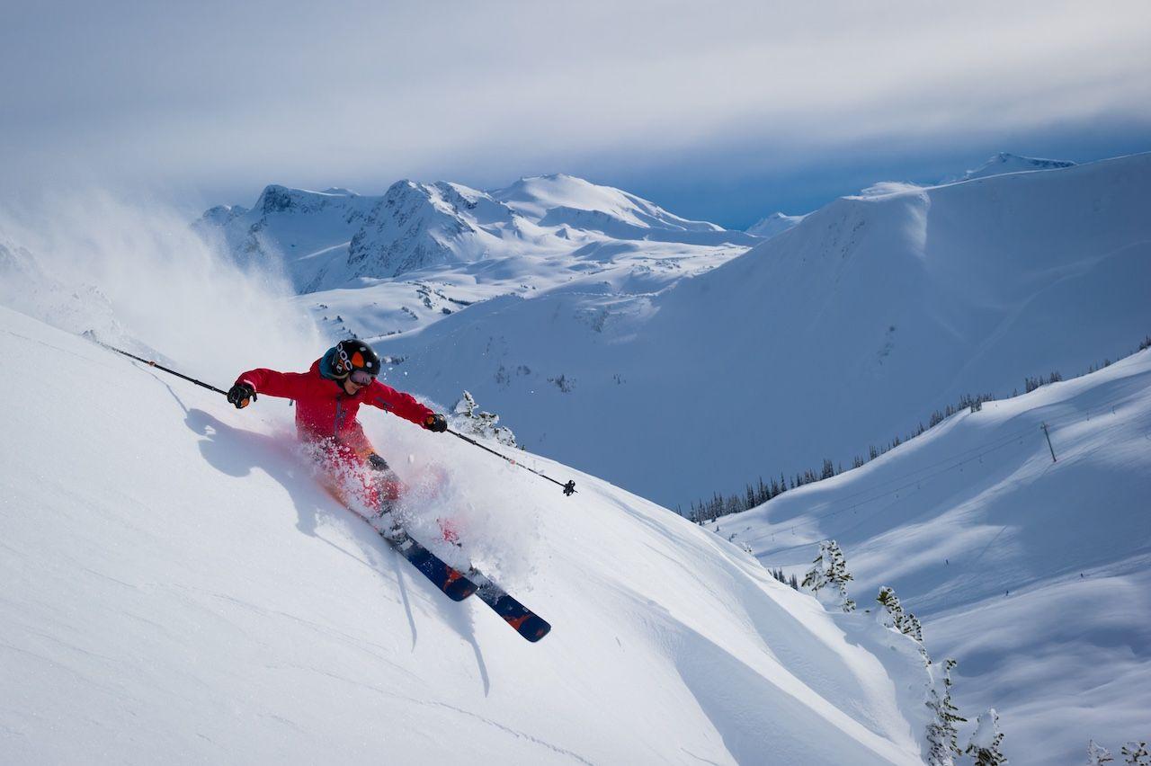 Skiing fresh powder in Harmony's alpine bowls