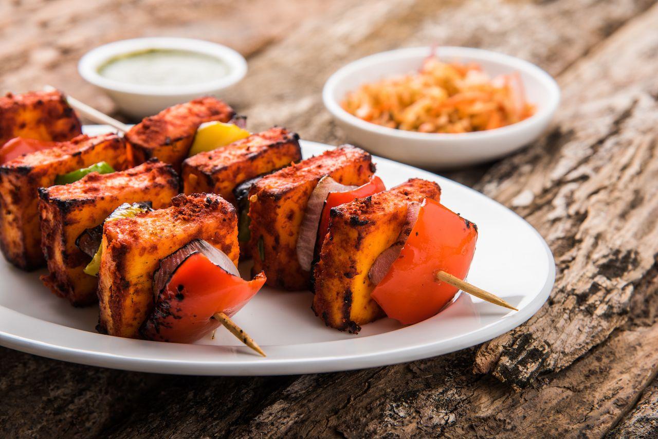 Indian paneer tikka kebab in red sauce
