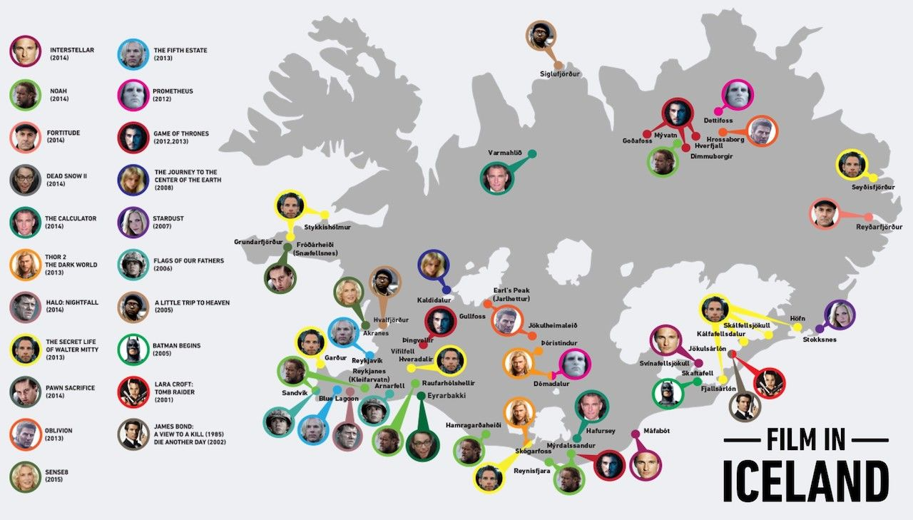 Map of filming locations in Iceland