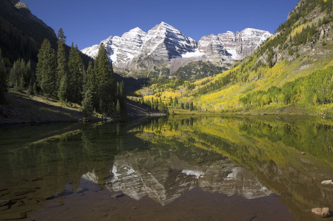 Mountain reflected in lake at Maroon Bells, Colorado, near Aspen