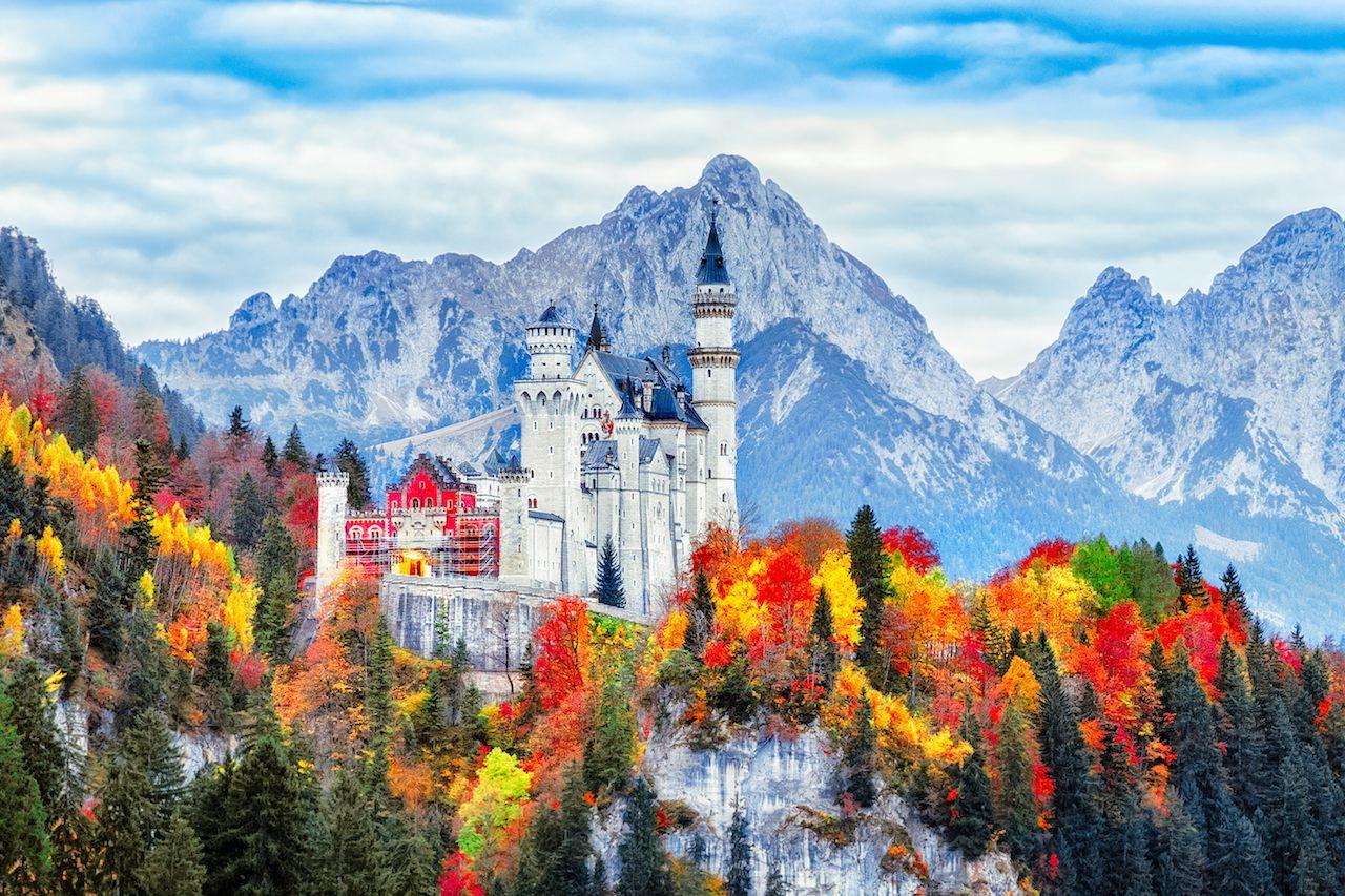 Neuschwanstein Castle in Bavaria, Germany, in fall