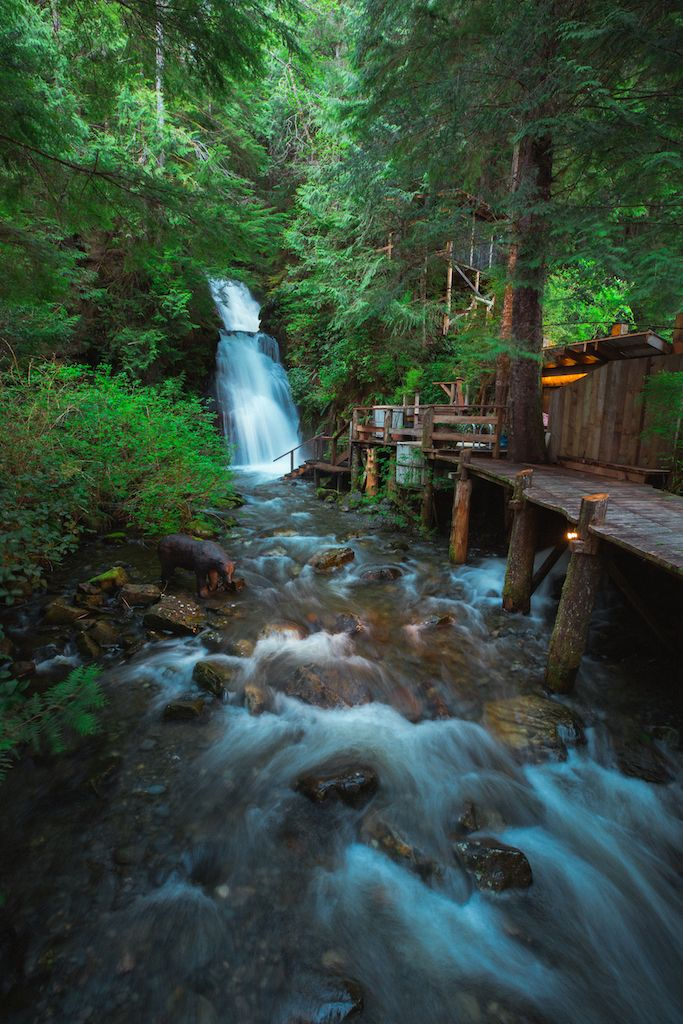 Nimmo Bay waterfall in BC, Canada