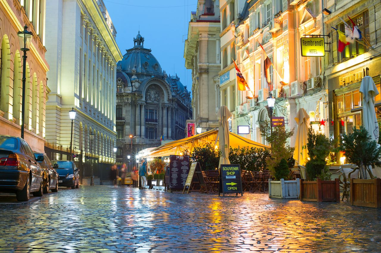Old Town of Bucharest with cobblestoned streets and outdoor restaurants