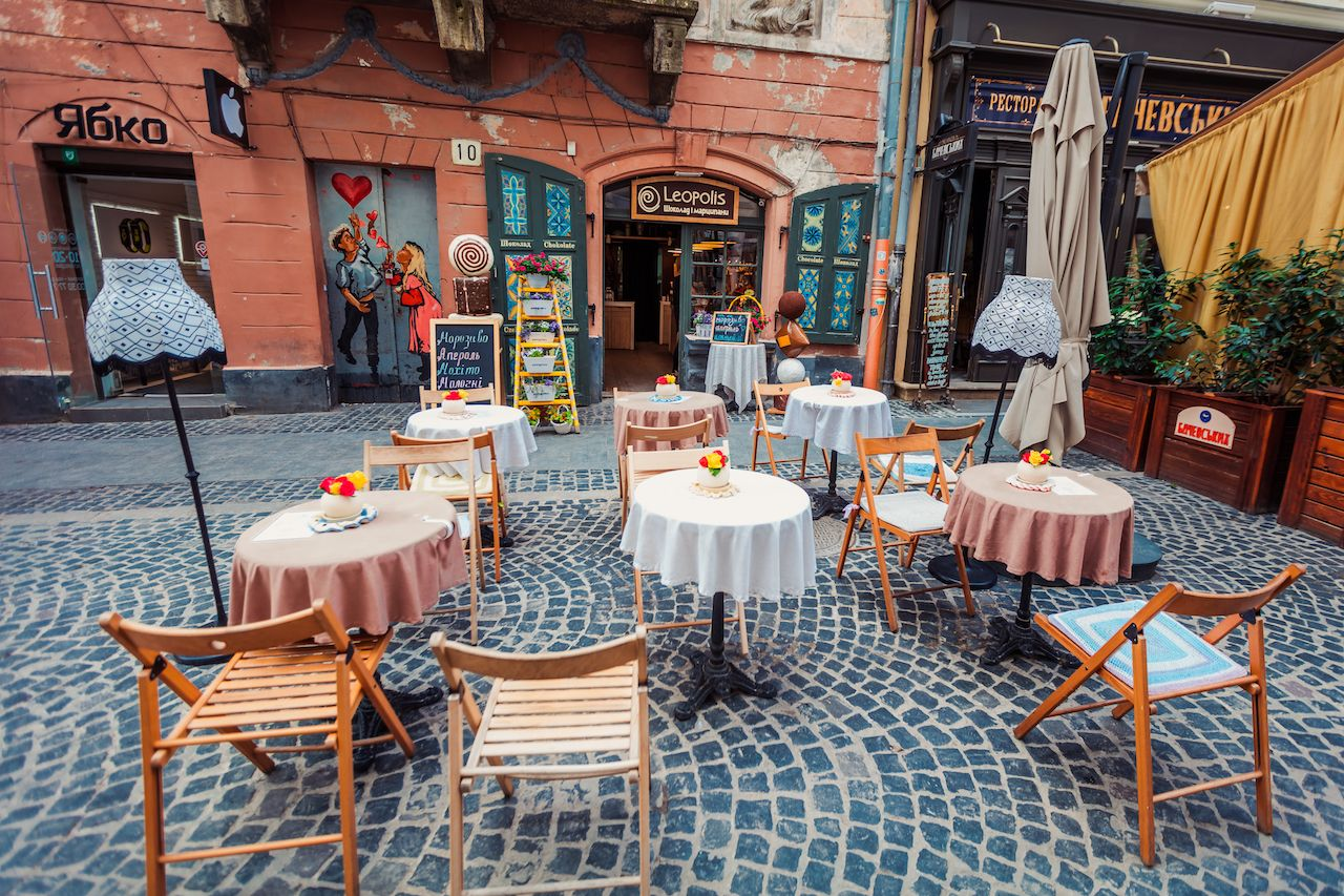 Outdoor cafe in Lviv, Ukraine