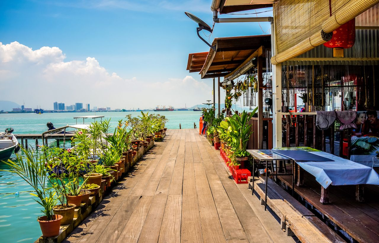 Waterfront restaurant at the Chew Jetty fishing village in Penang, Malaysia