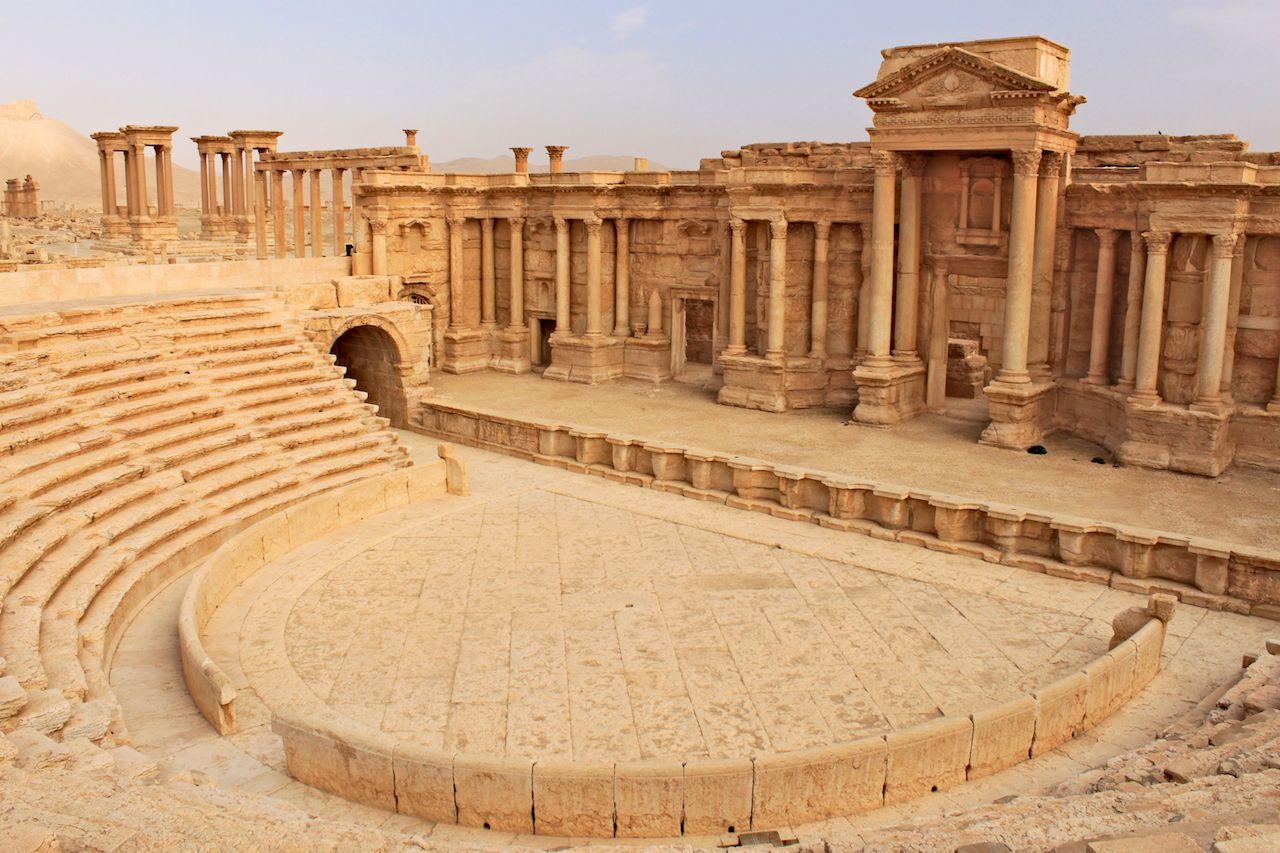 Ruins of the ancient amphitheater in Palmyra on syrian desert