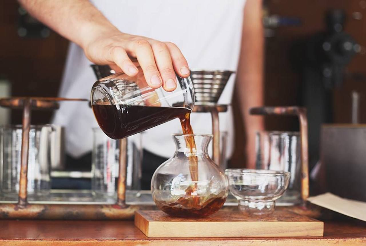 Coffee being poured at the Single O coffee shop in Sydney