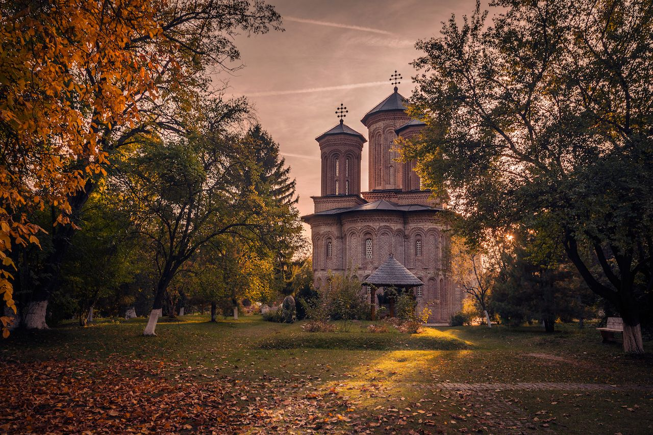 Snagov Monastery in Transylvania, Romania, at sunset