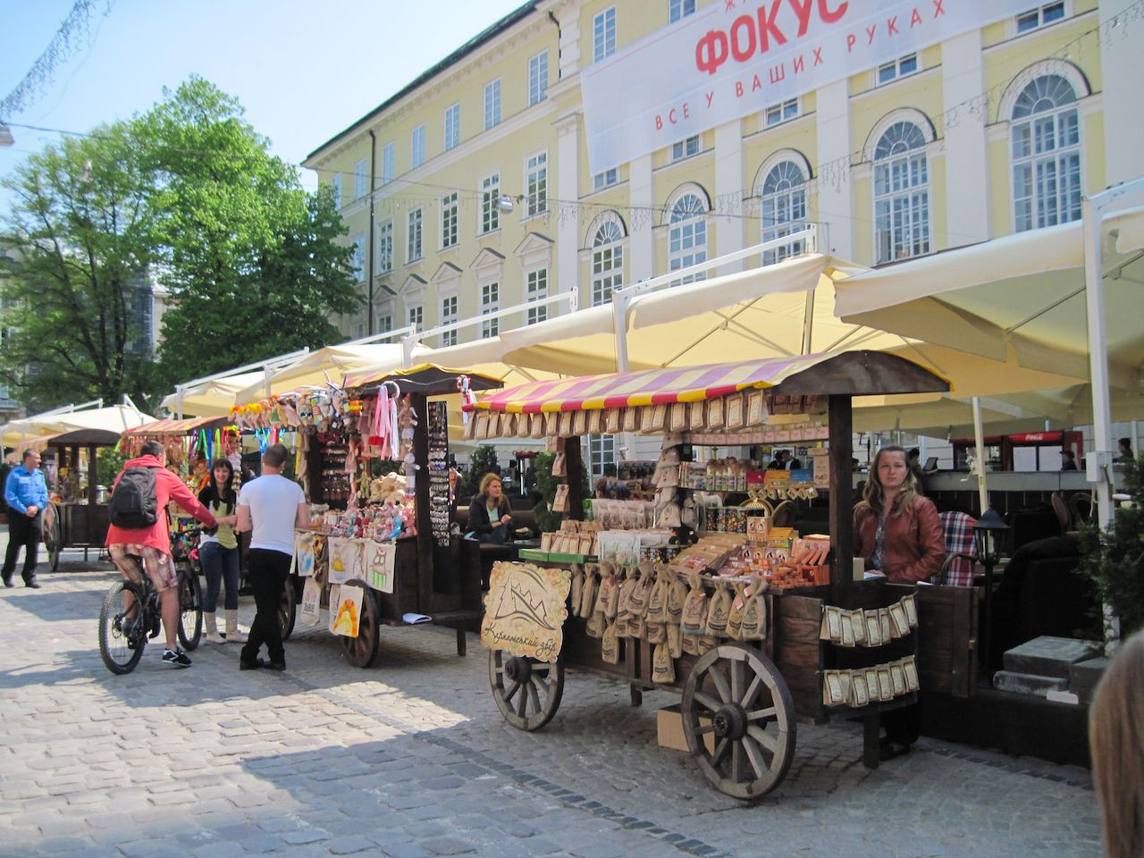 Street food in the old city of Lviv, Ukraine
