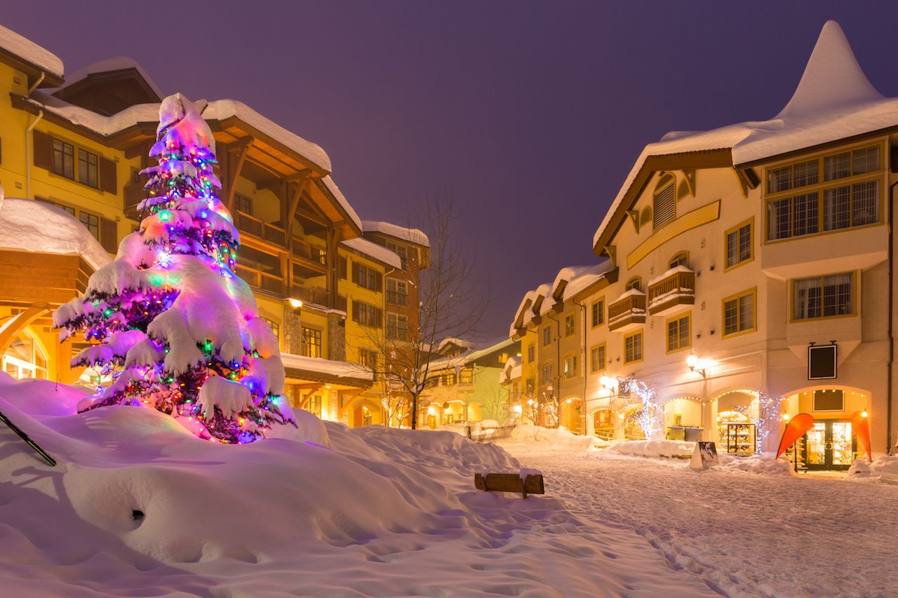 Streets of ski resort at night during festive season