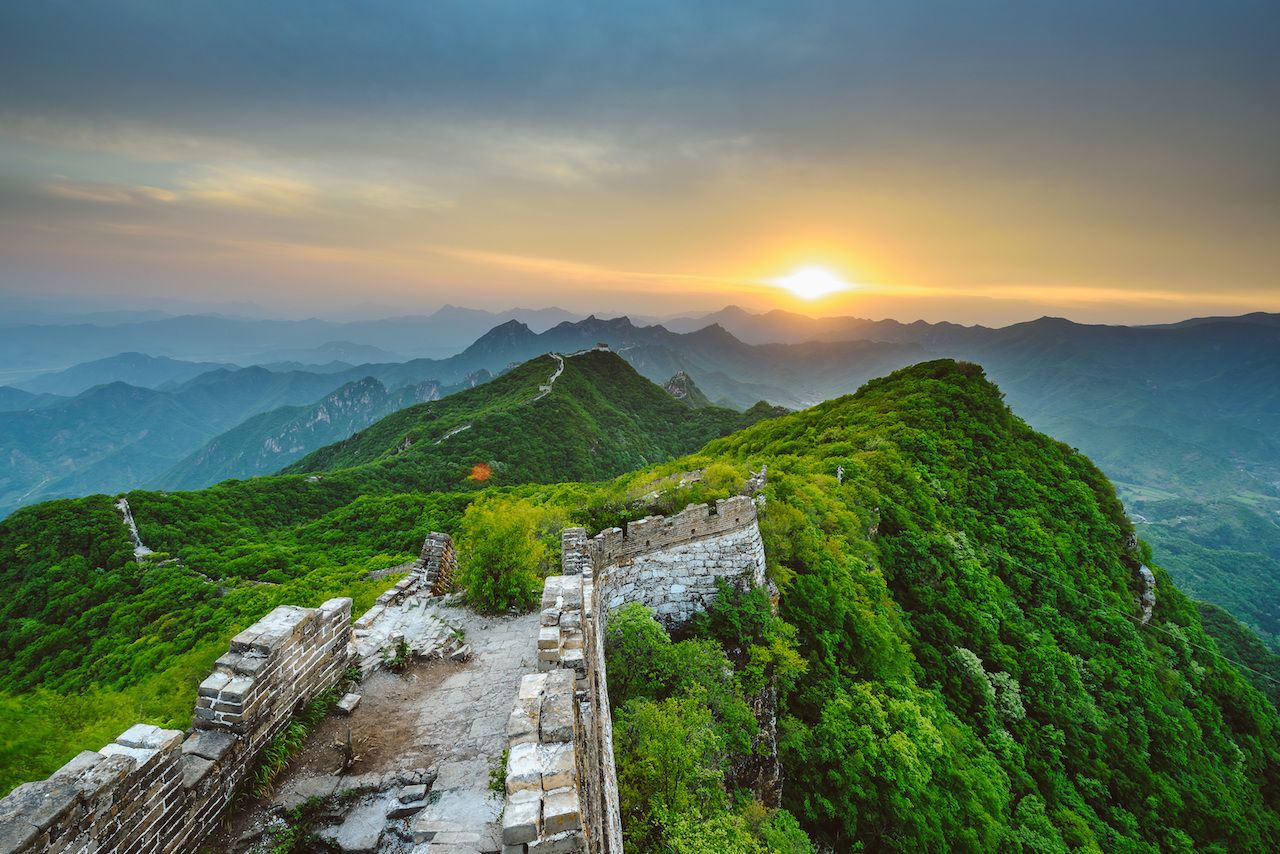 Sunset at Great Wall of China, Jiankou