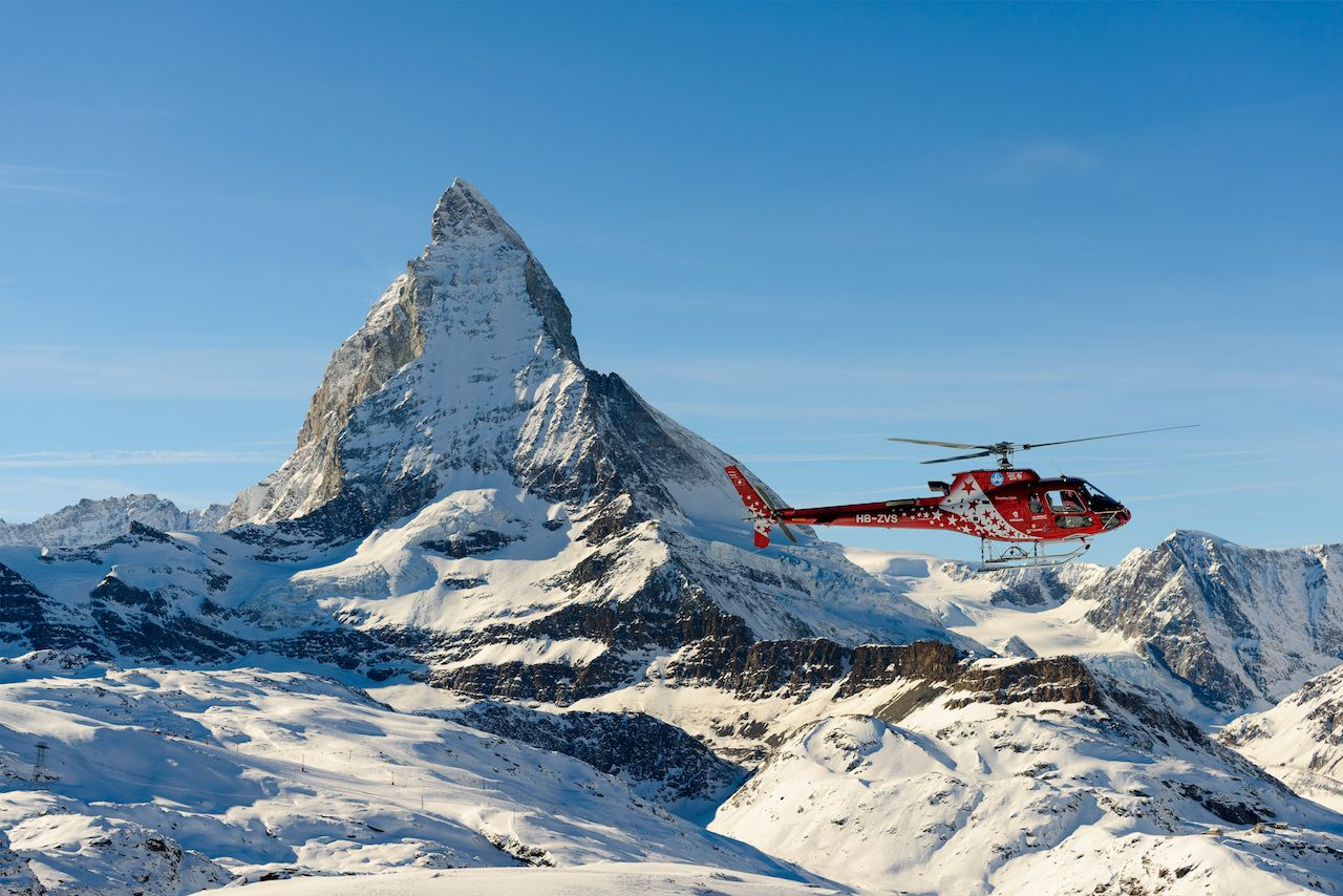 The Matterhorn with air zermatt helicopter