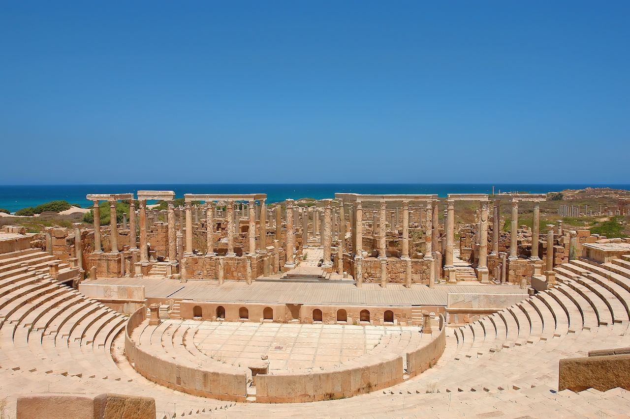 Theater at the spectacular ruins of Leptis Magna near Al Khums, Libya