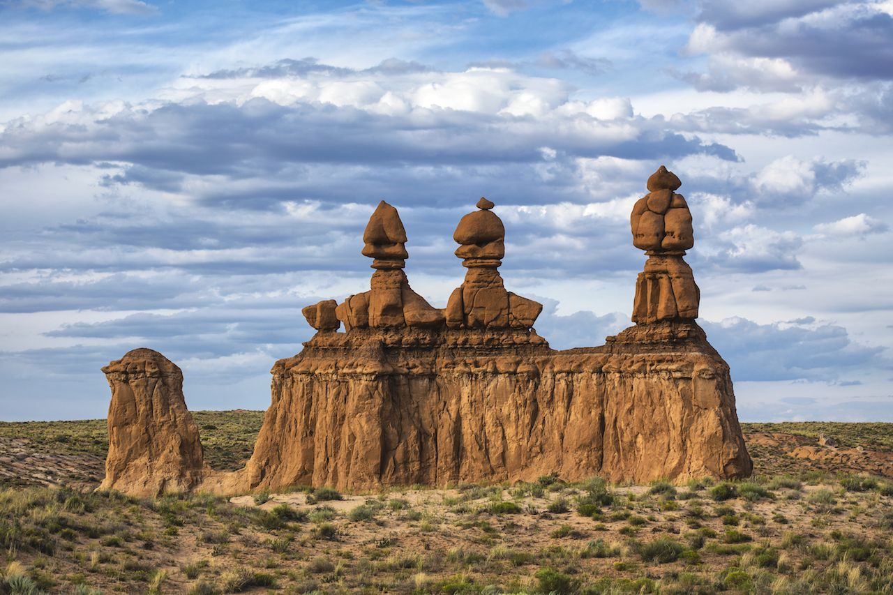 Three sisters rock formation in Goblin Valley State Park, Utah