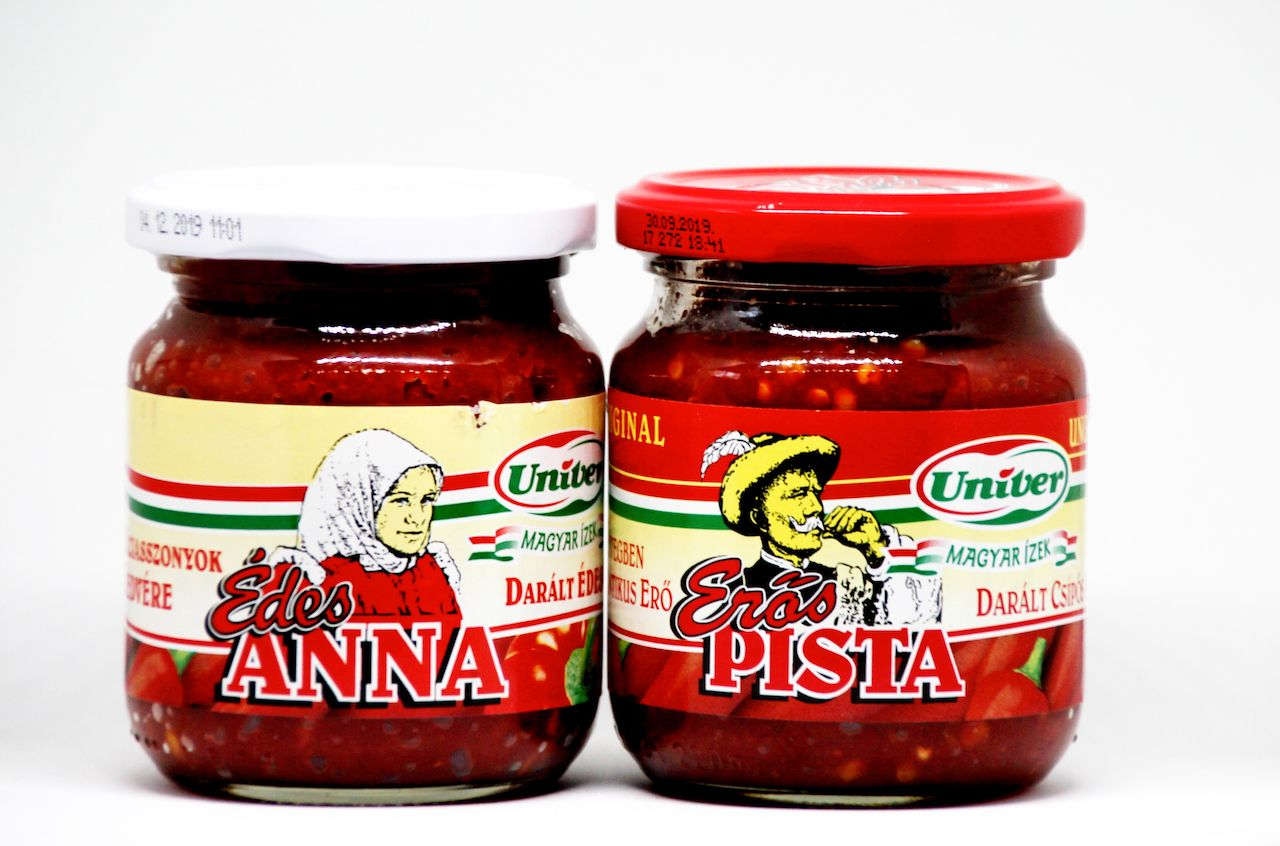 Traditional hungarian hot paprika spice Eros Pista