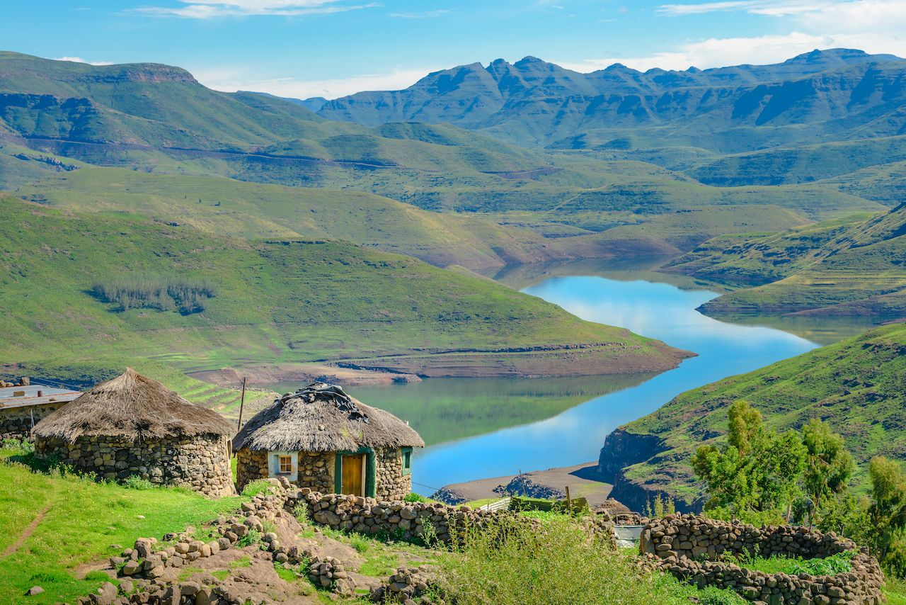 Traditional village huts on Mohale Dam in Lesotho