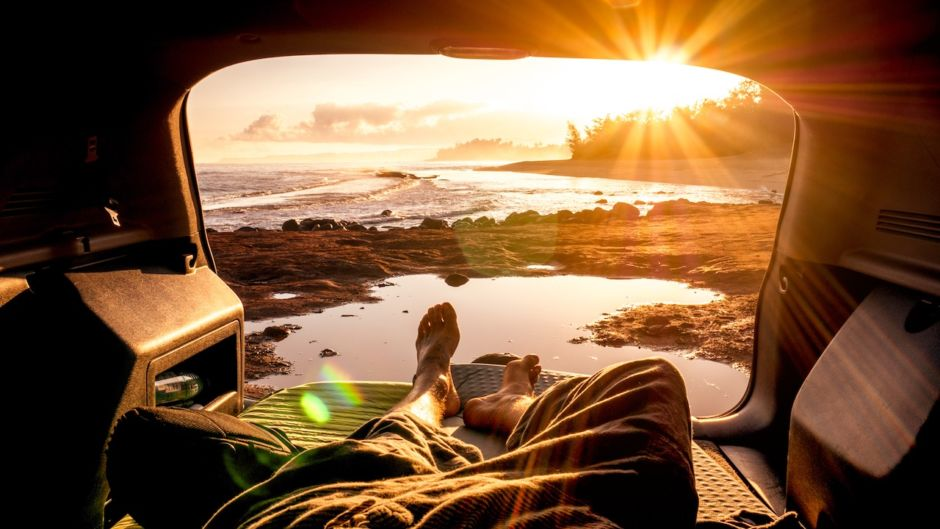 Travel van sunrise beach