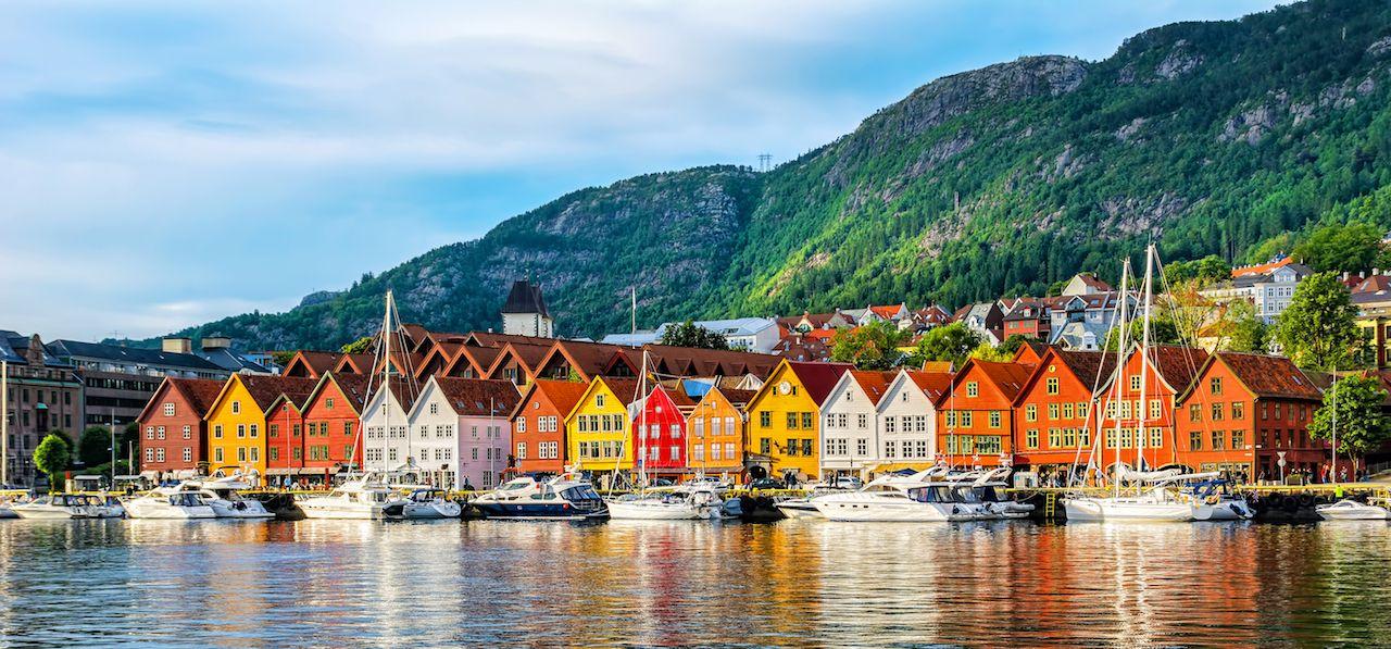 UNESCO-designated Bryggen-Hanseatic wharf in Bergen, Norway