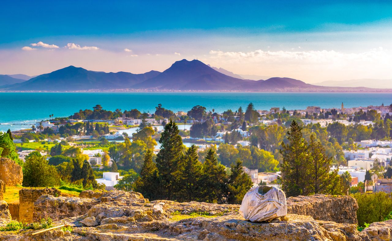 View from hill Byrsa with ancient remains of Carthage and landscape Tunis Tunisia.