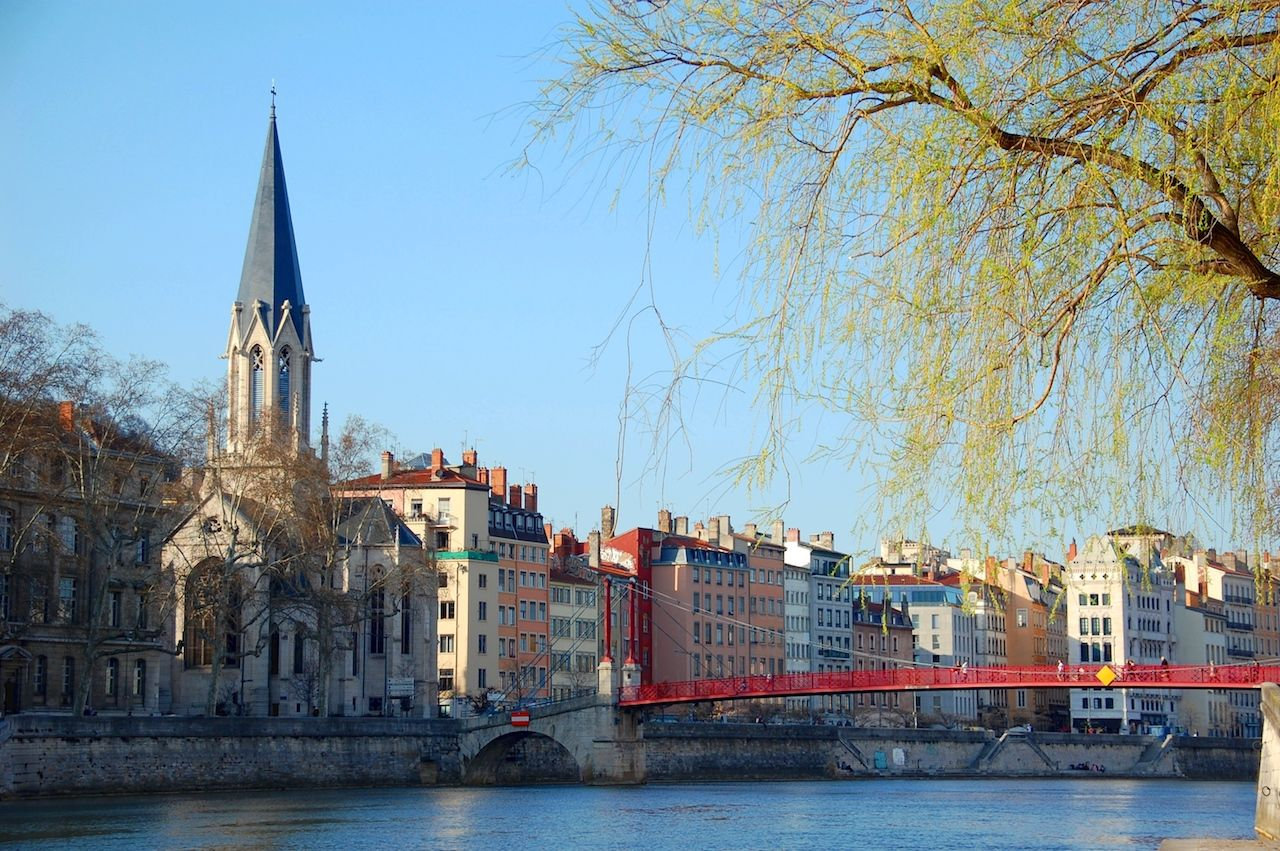 View of Lyon, France, on the Saone River