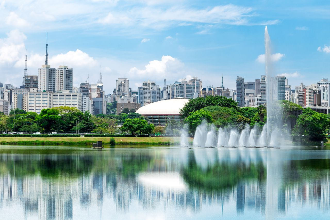 Wide shot of Ibirapuera Park in Sao Paulo, Brazil