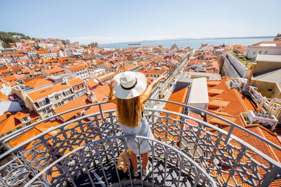 Woman cityscape Lisbon Portugal