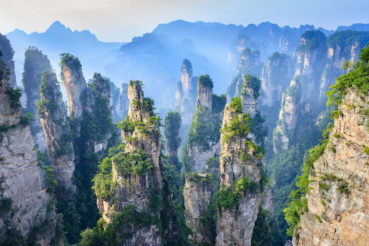 Zhangjiajie rock towers in China's Wulingyuan Scenic and Historic Interest Area